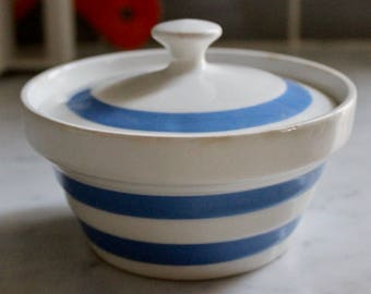 Vintage Carrigaline Ireland Colleen Kitchenware Covered Dish - Blue Stripes