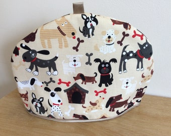 Hand made Fabric Tea Cozy - Cartoon Dogs Fabric - Fits a 2 to 4 cup teapot.