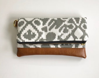 Ready to ship! Gray and white foldover clutch with brown faux leather