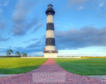 Bodie Island Lighthouse, Outer Banks, North Carolina, Panorama Landscape Photographic Print, Wall Decor