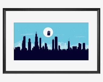 Chicago skyline, Chicago print, Chicago art, Chicago poster, Doctor Who inspired art, Doctor Who art, Doctor Who print, Doctor Who poster