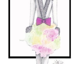 Woman in Cerise with Fur & Bow - Print from original watercolour and copic marker drawing