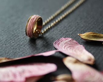 Lyn long minimalism Necklace - pink everyday dainty necklace layering circle gold jewelry colorful linen thread spool textured delicate