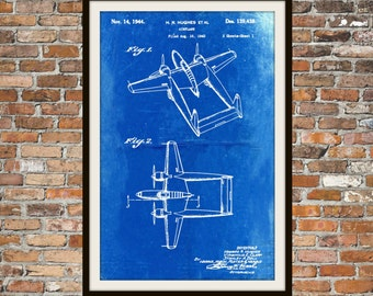 Blueprint Art of Patent 139438 Hughes PlaneTechnical Drawings Engineering Drawings Patent Blue Print Art Item 0049