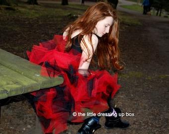 Black & Red Burlesque Dita Showgirl Moulin Tutu Longer length Bustle Tutu CanCan