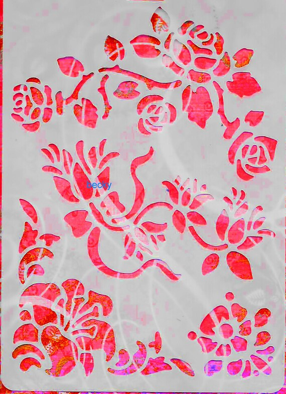 Puppy Bows ~ Craft stencil ROSES TULIPS FLOWERS trim scrapbook wall art home decor