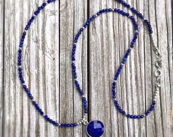 Lapis Necklace - Navy Blue Jewelry - Sterling Silver Jewelry - Statement Gemstone Jewellery - Pendant - Beaded