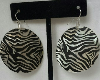 Handcrafted Zebra Seashell Sterling Silver Earrings - Handcrafted Sterling Silver Jewelry