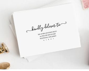 Modern Calligraphy Envelope Template, Printable Wedding Envelope Template, Instant Download, Editable Address, Digital, DIY #030-111EN