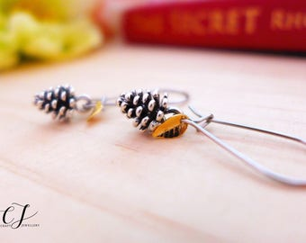 Hypoallergenic Earrings, Silver Pinecone Earrings, Silver Pine Cone Jewelry, Silver Nature Earrings Silver Woodland Earrings Natural Jewelry