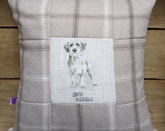 Jack Russell Terrier Dog Patchwork Cushion