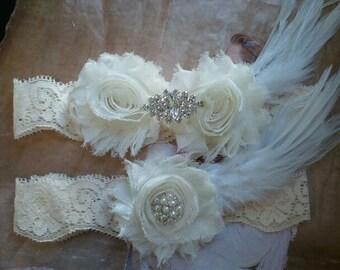 Bridal Garter, Wedding Garter and Toss Garter - Ivory Garter Set with Crystal Rhinestone & Feather - Style G224