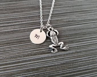 Silver Frog Necklace - Frog Charm Pendant - Personalized Necklace - Custom Initial Necklace - Personalized Gift - Amphibian Necklace