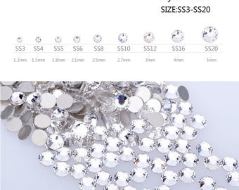 Swarovski Crystals CLEAR flat back stones rhinestone gems charms for nail art design, nail crystals