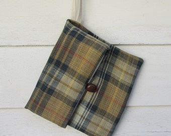 Plaid Linen  Organizer / Men's Vintage Look / Shaving Bag / Linen Gift Set/ Travel Bag