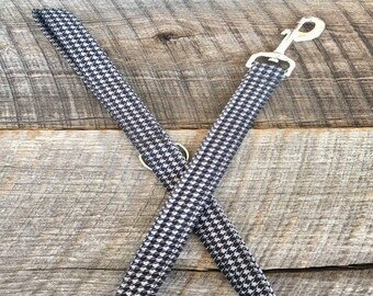 Grey & Black Houndstooth Dog Leash