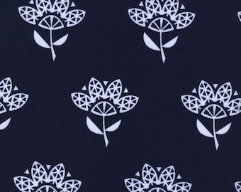 "Bluebird Fabric - Cotton + Steel ""Cornflower"" by Rashida Coleman-Hale. Navy Blue Bird Fabric. 100% cotton. 5039-1"
