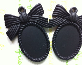 SALE MATTE Bow cameo setting frame 2pcs Black Fits 25mm x 18mm cameo