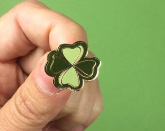 Lucky Clover émail broche - vert trèfle à quatre feuilles (PIN004)
