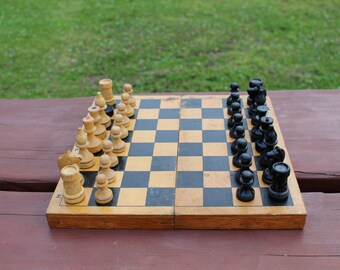 Soviet chess Vintage chess Russian chess Wood chess Gift for chess player Tactical games Vintage board game