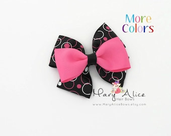"Girls Hair Bow- Pink Circles, 3.5"" Layered Hair Bow, Toddler Hair Bow, No Slip Alligator Clip for Baby Girl- Made to Order"