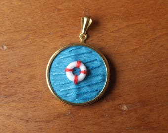 Nautical jewellery // Hand embroidered pendant