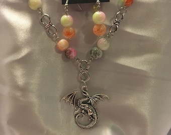Beaded dragon necklace with earrings