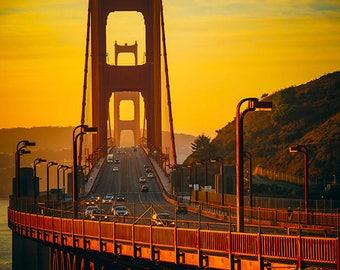 Photo of Golden Gate Bridge in Morning Light- Sunrise Commute - Bay Area Photography - California, Travel, Vacation, Sunshine