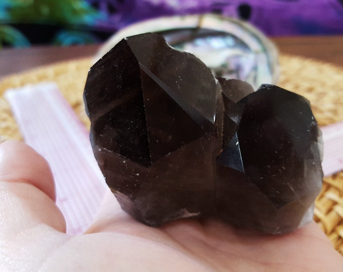 Natural Smokey Quartz Cluster AA Grade ~ 1 Reiki infused crystal cluster approx 2.8 x 2.2 x 2.2 inches (E04)