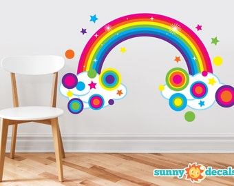 Rainbow Fabric Wall Decal, Sparkling Rainbow with Polka Dots and Stars, Repositionable, Reusable, Three Size Options - Sunny Decals