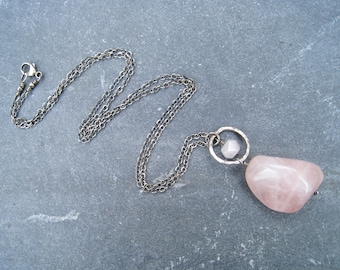 Rose Quartz  Pendant, Pink Necklace, Oxidized Sterling Silver Necklace, Hammered Silver, Nugget Pendant, Pink and Gray Jewelry, SweetTaBou