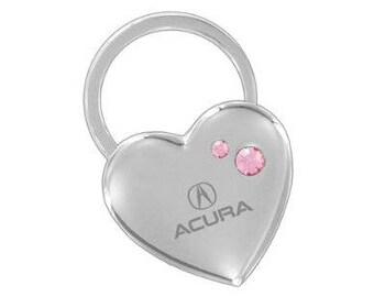 Acura Keychain & Keyring - Heart Shaped with Pink Crystals