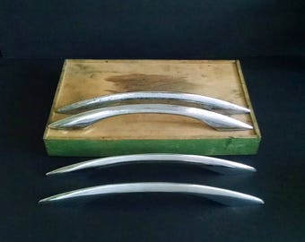 Large Chrome Handles Cabinet Door Drawer Pulls Vintage Hardware
