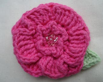 Crocheted flower corsage brooch