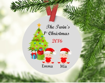 Twins First Christmas Ornament - Baby's First Christmas -  Baby's First Christmas Ornament - Baby Ornament