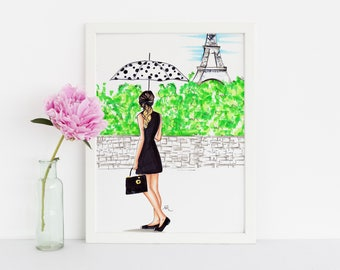 The Parisian (Fashion Illustration Print) (Fashion Illustration Art - Fashion Sketch prints - Home Decor - Wall Decor )