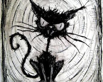 """Print 8 x 10""""- schwarze Katze - Halloween Katzen streunende Spuk Gasse dunkle Kunst Haustiere niedliche Tier gruselig gotische Kunst Schwarz und weißen Kitty"""