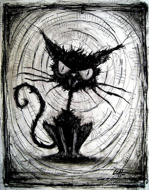 Print 8x10 Black Cat Halloween Cats Stray Spooky