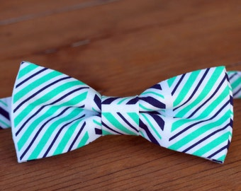 Mens striped bow tie - mens blue bow tie - green bowtie - summer wedding bow tie - groomsmens bow ties - father's day gift - mens cotton tie