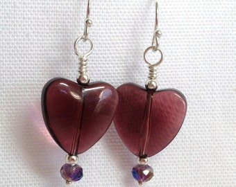 Purple Glass Heart Earrings