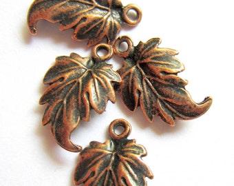 16 leaf charms copper earring dangles pendants drops jewelry making pendants 19mm x 12mm A1192 CC2