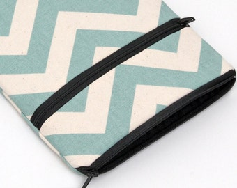 Blue iPad Pro 9.7 Sleeve, Apple iPad Mini Cover with Front Pocket, Kindle Fire HD, HDX, Padded with Foam - spa blue chevron