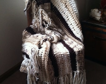 Crocheted Afghan lap neutral home decor brown ecru beige striped fringed
