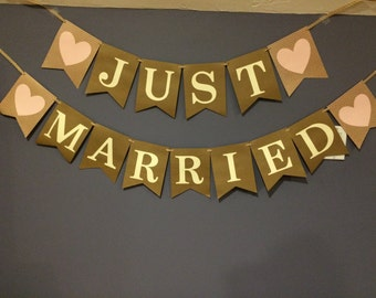 Just Married Wedding Banner (Rustic)