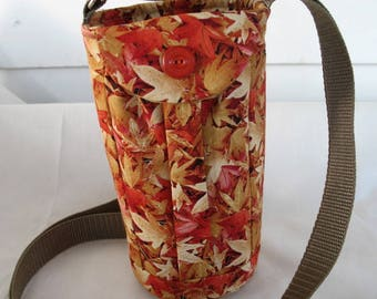 Water Bottle Holder Sling//Walkers Insulated Water Bottle Cross Body Bag// Hikers Water Bag-Bright -Fall Leaves Fabric