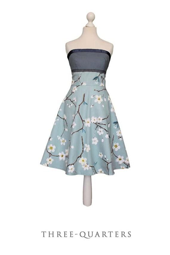 DEANNA _ Kleid mit Kirschblüten Brautkleid taupe blau