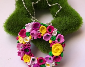 Little flower crown with beautiful flowers -polymer clay - made in usa- gudimaO Mother's day