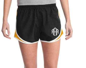 Black & Gold Monogrammed Shorts, Personalized Running Shorts, Work Out Shorts, Gym Shorts, Monogrammed Running Shorts, Personalized Shorts