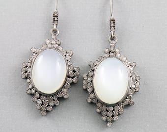 Pave Diamond Earrings, Pave Diamond Moonstone Earrings, Moonstone Earrings, Pave Diamond Drop Earrings, Diamond Moonstone Earrings (DER-132)