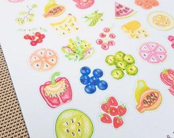Eat Your Fruits and Veggies!  Produce Tracker Watercolor Planner Stickers (Inkwell Press, Erin Condren, Fliofax, Kikki K, Happy)